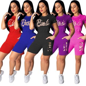 PINk Women designer 2 piece set running tracksuit summer clothes t-shirt shorts sportswear pullover leggings outfits hotsell bodysuits 0275