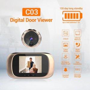 2,8 дюйма HD ЖК-дисплей 90 градусов широкоугольный 720P Visual Video Doorbell Долговечное время ожидание Peephole Viewer Дверная камера