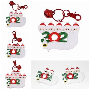 PVC Christmas Keychain DIY Xmas Wishes With Face Mask Family of 2-7 Hanging Pendant Name Decoration Gift Party Favor SEA SHIPPING LJJP574