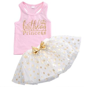 Kid 0-6T Summer Birthday Party For Baby Girl Outfits Vest+Short Skirt Baby Clothing