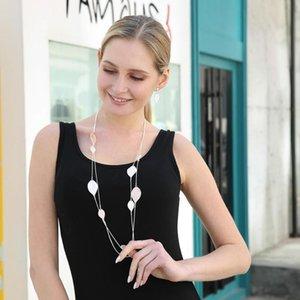 Kadınlar Kadın Collares Bildirimi Jewlery kolye Anneler Günü gerdanlığı Çift Katmanlar Uzun Yaprak Triko Yılan Zincir Kolye