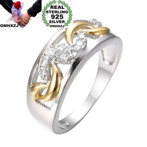 OMHXZJ Wholesale European Fashion Woman Man Party Wedding Gift White Zircon 925 Sterling Silver 18KT Yellow Gold Ring RR402