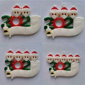 PVC 2020 quarantaine Ornement d'arbre de Noël de faimly 2 3 4 5 Avec Visage Masque Nom bricolage Père Noël Décoration à la main Sanitized DDA588