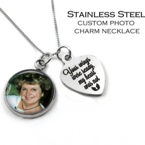 Mom sob encomenda da foto colar, pingentes charme Imagem, colar da foto de aço inoxidável personalizado gravado encanto, Memorial