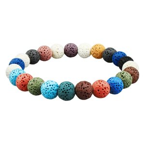 Volcanic Rock Essential Oil Bracelets for Men Lava Stone Diffuser Bracelet for Women 12 Color Beads with Elastic Rope