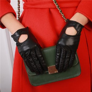 Genuine Sheepskin Leather Gloves Fashion Summer Women Touch Screen Gloves Female Breathable Driving Mittens NM1813