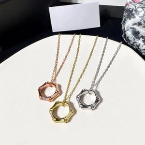 Mode Luxus Geometrie Bambus Anhänger Halskette für Frauen Rose Gold-Silber-Farben-Kette Designer Schmuck-Qualitäts-Mischungs-Art