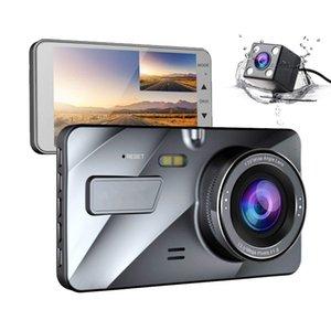 """2020 Dash Cam Neue Doppelobjektiv-Auto DVR Kamera volles HD 1080P 4"""" IPS vorn + hinten blau Spiegel-Nachtsicht-Videorekorder Parkplatz-Monitor"""