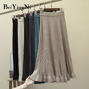 Beiyingni High Waist Skirts Womens Solid Plaid Vintage Casual Sweater Knitted Skirt for Woman Elastic Retro Skirt Faldas Mujer