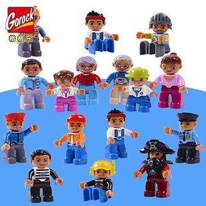 Family Set für große Größen-Geschenk-Worker Kinder Spielzeug Blöcke 6pcs Charakter Weihnachten Gebäude Gorock Abbildung Polizei qylOTE mywjqq