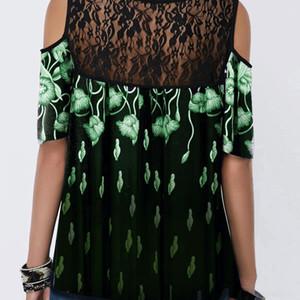 yoZBi 화면 2020 반소매 코트 느슨한 T 셔츠 상단을 인쇄 2020 여성의 레이스 인쇄 코트 반소매 실크 스크린 레이스 실크는 느슨한 petld