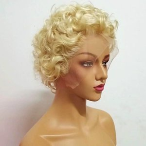 180 Density 613 Full Lace Wig Curly Blonde Short Wigs Lace Front Human Hair Wigs For Black Women Transparent Lace Virgin Hair