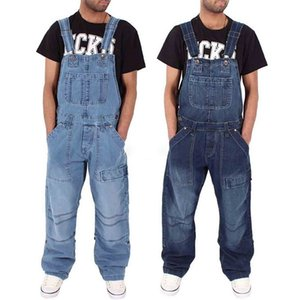 2020 Men One Piece Full Length Suspender Pants Casual Loose Wide Leg Slim Pocket Overalls Denim Jumpsuits Ripped Jeans Baggy