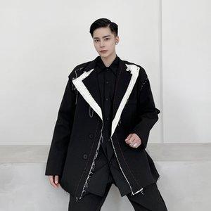 Мужчина Streetwear Япония Стиль костюм пальто Верхняя одежда Мужчины Сломанный Side Повседневный Vintage Сыпучие костюм Пиджаки куртка