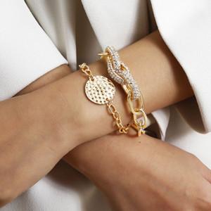 Elegant Vintage Style Rhinestone Thick Chain Bracelets for Women Exaggerated Geometric Bracelet Ladies Fashion Jewelry XR2794