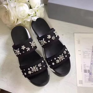 Women Sandals Boutique Travel Simple Luxury noble Thick bottom Lambskin Suede rand Sexy Exposed toe ladies hollow casual