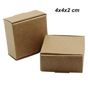 50 шт 4x4x2 см Коричневый картонов Hand Made Soap Вспомогательное оборудование ювелирных изделий Упаковочная коробка крафт бумага День рождения Подарки Crafts кольцо хранения Упаковочная коробка