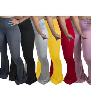 Kadınlar Flare Pantolon Tayt Moda Bell Alt İnce İşleme Bayanlar Casual Yığın Koşucular Yeni kişiselleştirin Pantolon 892