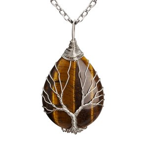 10 Pcs Silver Plated Wire Wrap Tiger Eye Stone Water Drop Pendant Link Chain Necklace Rose Quartz Jewelry