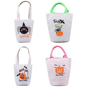 4pcs set Halloween Trick Or Treat Tote Bag With Handles Reusable Canvas Bag For Candy Gifts Grocery Favors Shopping For Kids Adults HH9-3335