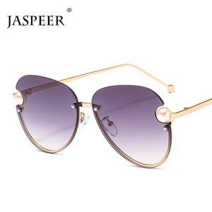 JASPEER demi-cadre pilote Lunettes de soleil femmes perle dames surdimensionné dégradé Lunettes de soleil UV400 Shades Lunettes Vintage