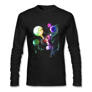 T-shirts Moda online Spazio Mow Gatti Uomo T shirt in cotone a maniche lunghe da uomo su misura personalizzato T shirt stampa vestiti casuali