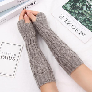 1Pair New Long Knitted Gloves For Women Winter Fingerless Mittens Gloves Thick Warm Fingerless Mittens Elastic Soft Arm Warmers