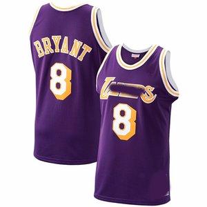 Los hombres losAngelesLakersJersey de retroceso824Bryantyellow Basketball Jerseys Pantalones cortos de baloncesto Púrpura 11 16