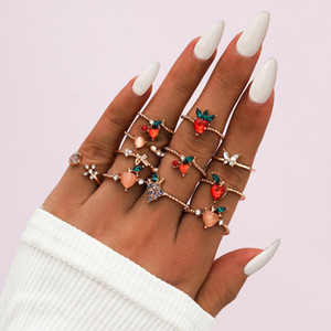 Women Fashion Finger Rings 11Pcs Sets Sweet fruit apple peach Strawberry Cherry butterfly Charm Finger Joint Ring Sets Cluster Rings Jewelry