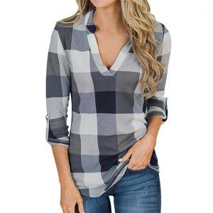 Long Sleeved Apparel Women Plaid Designer Blouses Autumn Fashion Designer V Neck Womens Shirts Tops