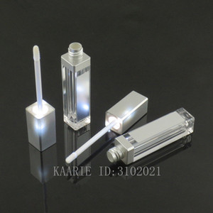 5 / 10 / 20 / 30 / 50pcs 7.5ml 정사각형 입술 광택 튜브 빈 립 광택 병 LED 라이트 미러 클리어 화장품 용기 메이크업 도구