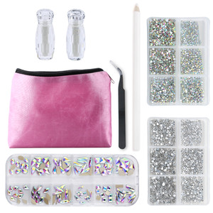 Formes multiples Verre Cristal AB Strass Nail Art Craft, Mix 12 style FLATBACK cristaux 3D Décorations Nail Strass