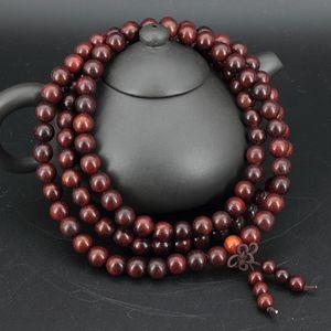 108*0.8cm Siam Rosewood Prayer Beads Buddha Bracelet Tibetan Buddhist Rosay Necklace Bangle Natural Wooden Jewelry