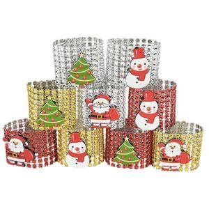 5 adet Kırmızı Altın Gümüş Peçete Halkası Sandalyeler Sevimli Noel ağacı Noel Kardan Adam Rhinestone Bow Tutucu Noel Partisi Tablo Decor 7 tokaları