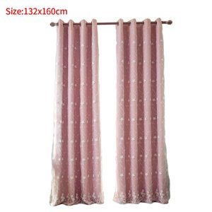 2pcs Living Room Modern Thick Bedroom Soft Double Layers Solid Window Elegant Blackout Curtains Embroidered Flower Home Hotel