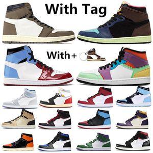 nike air jordan retro 1 1s Bio Hack Tokyo 1 1s Racer bleu Tie Dye chaussures de basket-ball sans Peur Cour Violet Bred Toe UNC Femmes Hommes Baskets Chaussures de sport