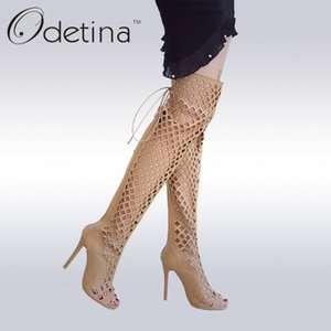 Odetina 2020 Fashion Sexy Over The Knee Peep Toe Boots Super High Heels Sexy Sandals Lace Up Black Women Summer Boots Hollow Out