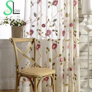 Rose Red Light Blue Blume Baumwollgarn Vorhang gestickte Vorhänge für Wohnzimmer Cortinas Tulle CortinaKitchen Pastoral Roses 9Cej #