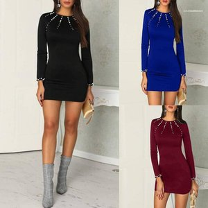 Color Womens Bodycon Dresses Long Sleeve Womens Apparel Pearl Designer Womens Dresses Solid