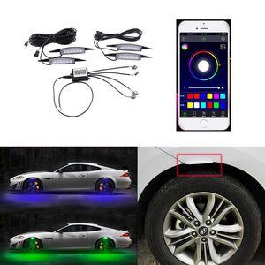 السيطرة على السيارة الحاجز عجلة الحاجب ضوء APP حامي LED مصباح الأنوار كيت RGB فلاش مع تنفس عجلات سيارة الحاجب مصباح
