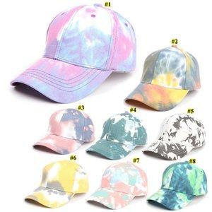 Boné de beisebol Gradiente Tie-dye Bones Primavera-Verão Designer colorido Sun Hat Moda Esportes Hip-hop Cap OOA9038