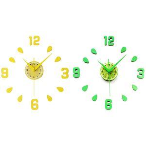 Green Design Sticker EVA 60CM Wall Clock Colour Big Large Decorative 3D Diy Wall Clock for Kitchen Children Room