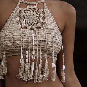 tank top Boho Beach Bikini Halter Cami Women Crochet Lace Bralette Knit Bra Tank Crop Top