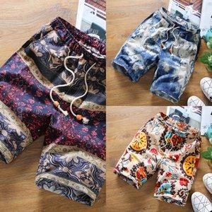 cotone e lino bicchierini floreali uomini di estate casuale medie sciolto sottili tagliate Shorts Caviglia-lunghezza della spiaggia dei pantaloni della spiaggia dei pantaloni x81JL