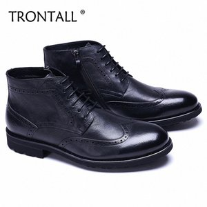 TRONTALL Genuine Leather Cowhide British Style Ankle Boots Lace Up Non Slip Pattern Handmade Men Dress Shoes Business Wedding aIck#