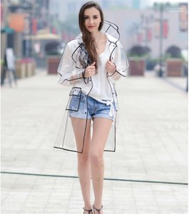 Protection Raincoat Pedestrianism Rainning Time Womens Casual Clothing Womens Designer Rain Jacket Fashion Colorful Piping Transparent