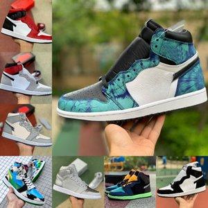 2020 Nuevos JUMPMAN 1 1s zapatos de baloncesto de los hombres de mediana satén de las mujeres de la serpiente Patente teñido anudado de Chicago UNC Para Chunky DUNKY New Love pino verde Formadores