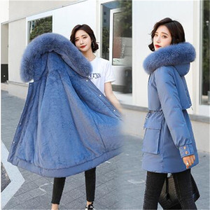 Neue Winter Wärme Mode Frauen Pelzkragen Down-Baumwolle mit Kapuze gepolsterte neue koreanische lose dicken Jacken Mäntel outwear