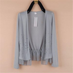 2020 Summer large size 4XL 5XL womens long sleeved ultra thin air conditioning short coat star womens knit cardigan PZ2463