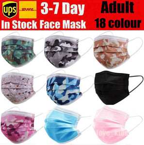 Disposable Face Masks pink white black Camouflage with Elastic Ear Loop 3 Ply Breathable Dust Air Anti-Pollution Face Mask mouth masks adult